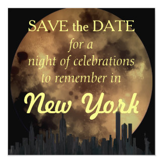 NEW YORK, NY SKYLINE OILS - 13 CM X 13 CM SQUARE INVITATION CARD