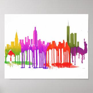 NEW YORK, NY SKYLINE PUDDLES - POSTER