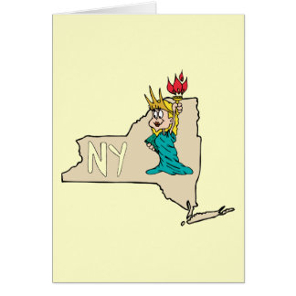 New York NY State Cartoon Map Statue Of Liberty Card