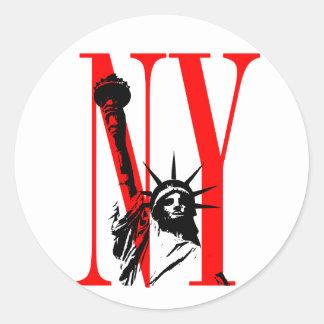 New York NY Statue of Liberty Logo Design Classic Round Sticker