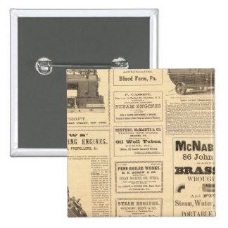 New York Oil Advertisements 15 Cm Square Badge