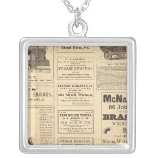 New York Oil Advertisements Silver Plated Necklace