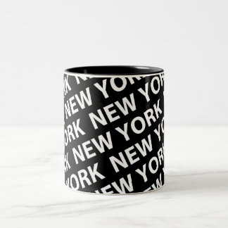 New York Pattern White Two-Tone Coffee Mug