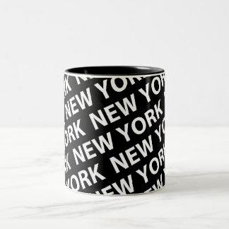 New York Pattern White Two-Tone Mug