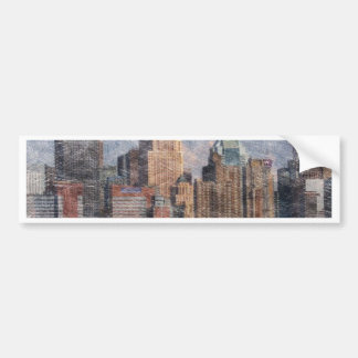 new york, pencil look bumper sticker