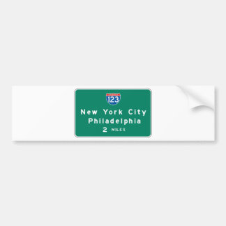 New York Philadelphia Highway Sign Bumper Sticker