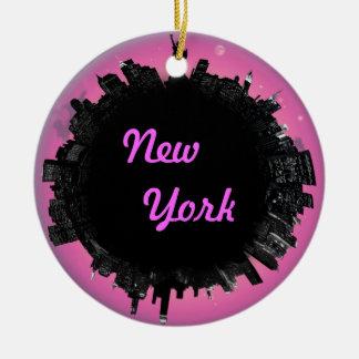 New York pink skyline Christmas Ornament