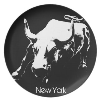 New York Plate NY Souvenirs Bull Statue Plate