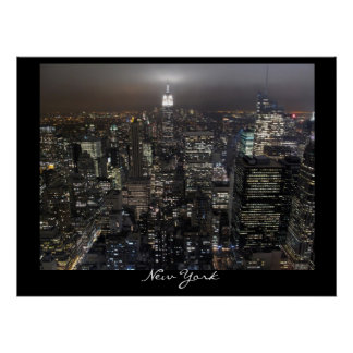 New York Poster Cityscape New York Night Print