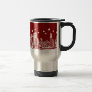 New York red hearts Stainless Steel Travel Mug