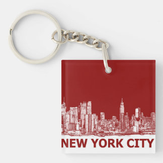 New York red maroon Double-Sided Square Acrylic Key Ring