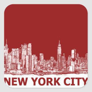 New York red maroon Square Sticker