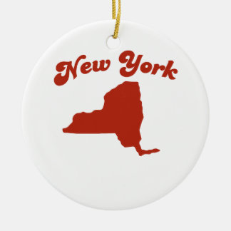 NEW YORK Red State Christmas Tree Ornaments