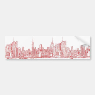 New York roofscape red Bumper Sticker