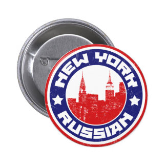 New York Russian American 6 Cm Round Badge