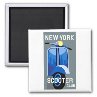 New York Scooter Club Square Magnet