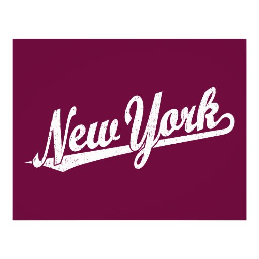 New York script logo in white distressed Custom Flyer