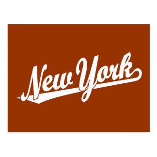 New York script logo in white Postcard