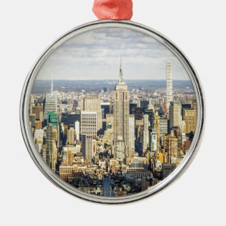 New York Silver-Colored Round Decoration