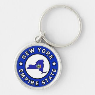 New York Silver-Colored Round Key Ring