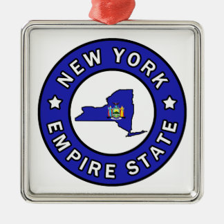 New York Silver-Colored Square Decoration