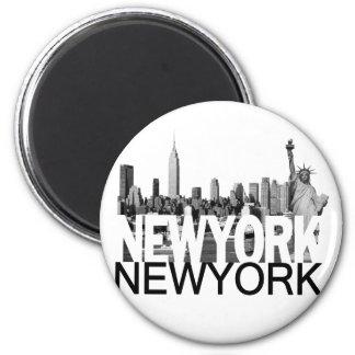 New York Skyline 6 Cm Round Magnet