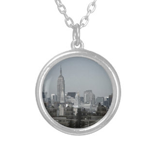 New York Skyline and Brooklyn Round Pendant Necklace