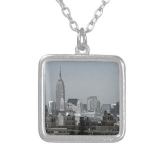 New York Skyline and Brooklyn Square Pendant Necklace