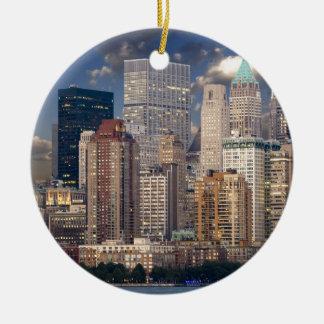 New York Skyline and the Manhattan Hudson River Round Ceramic Decoration