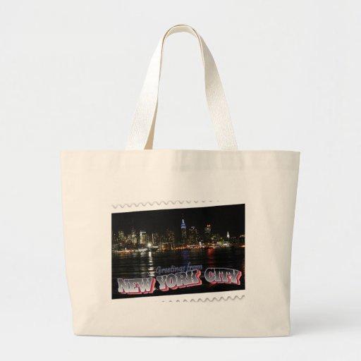 New York Skyline at Night Empire State Jumbo Tote Bag