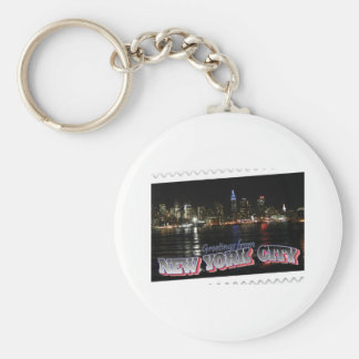 New York Skyline at Night Empire State Key Ring