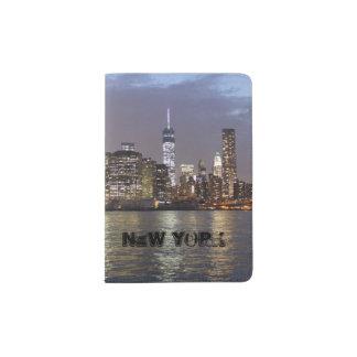 New York skyline at night Passport Holder