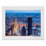New York Skyline At Night - Small Poster