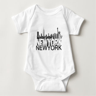 New York Skyline Baby Bodysuit