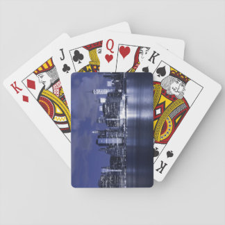 New York Skyline Bathed in Blue Playing Cards