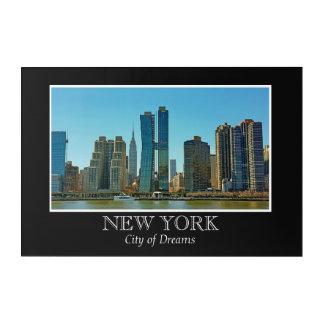 New York Skyline Black White Frame Photo Acrylic Print