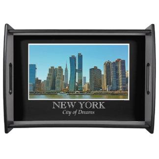 New York Skyline Black White Frame Photo Serving Tray