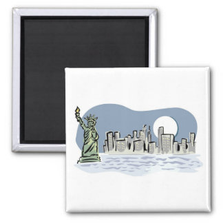 New York Skyline by Moonlight Square Magnet