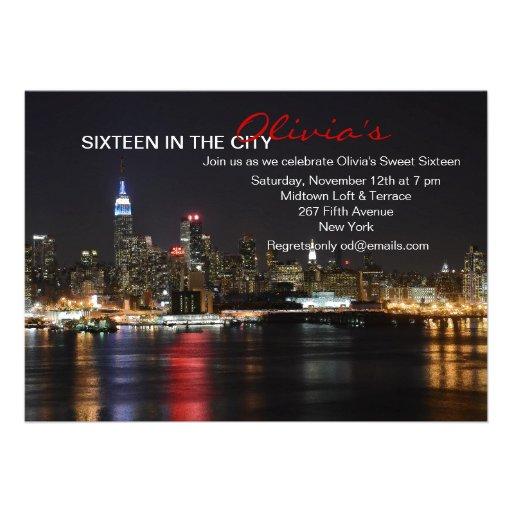 New York Skyline by Night Invitation Custom Invites