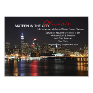 New York Skyline by Night Invitation