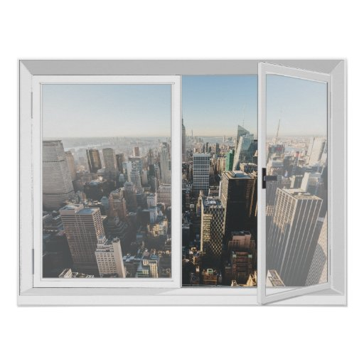 New York Skyline City View Fake Window Poster