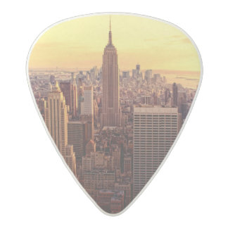 New York skyline city with Empire State Acetal Guitar Pick