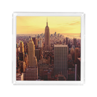 New York skyline city with Empire State Acrylic Tray