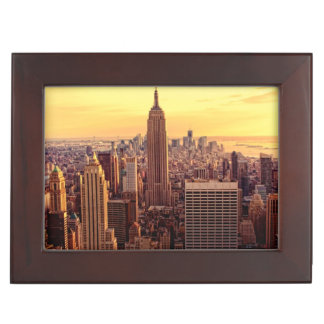 New York skyline city with Empire State Memory Boxes