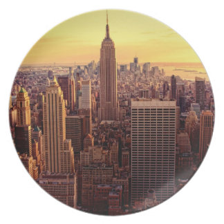 New York skyline city with Empire State Plate