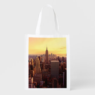 New York skyline city with Empire State Reusable Grocery Bag