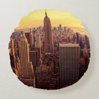 New York skyline city with Empire State Round Cushion