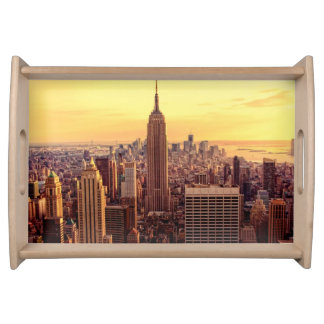 New York skyline city with Empire State Serving Tray