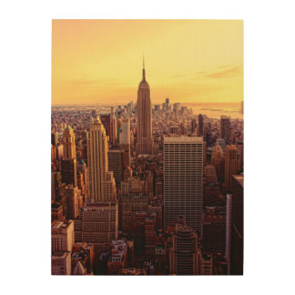 New York skyline city with Empire State Wood Wall Art