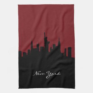 New York Skyline | Dark Red Towel